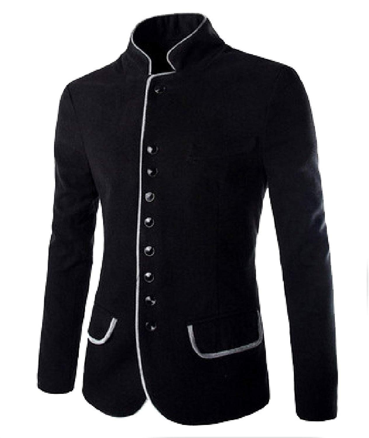 Abetteric Mens Stand Collar Wool Blend Lounge Jackets Suit