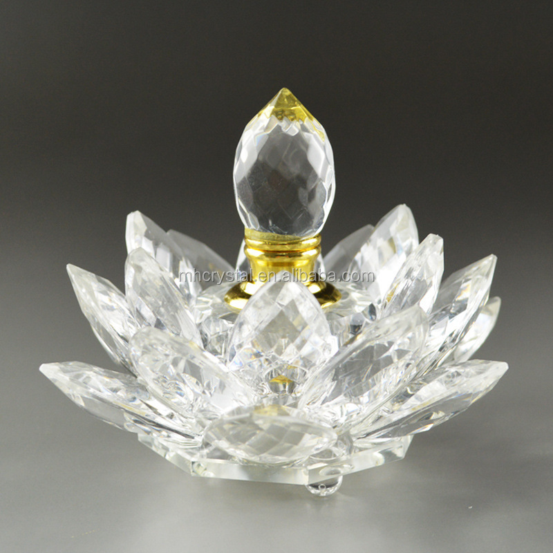 Clear Crystal Glass Lotus Flower Perfume Bottle MH-X0817