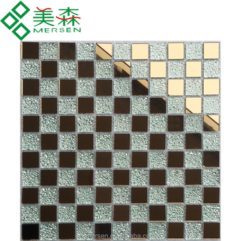 Gl 03 Whole Luxury Indian Style Rose Gold Color Mosaic Tile 4x25x25mm