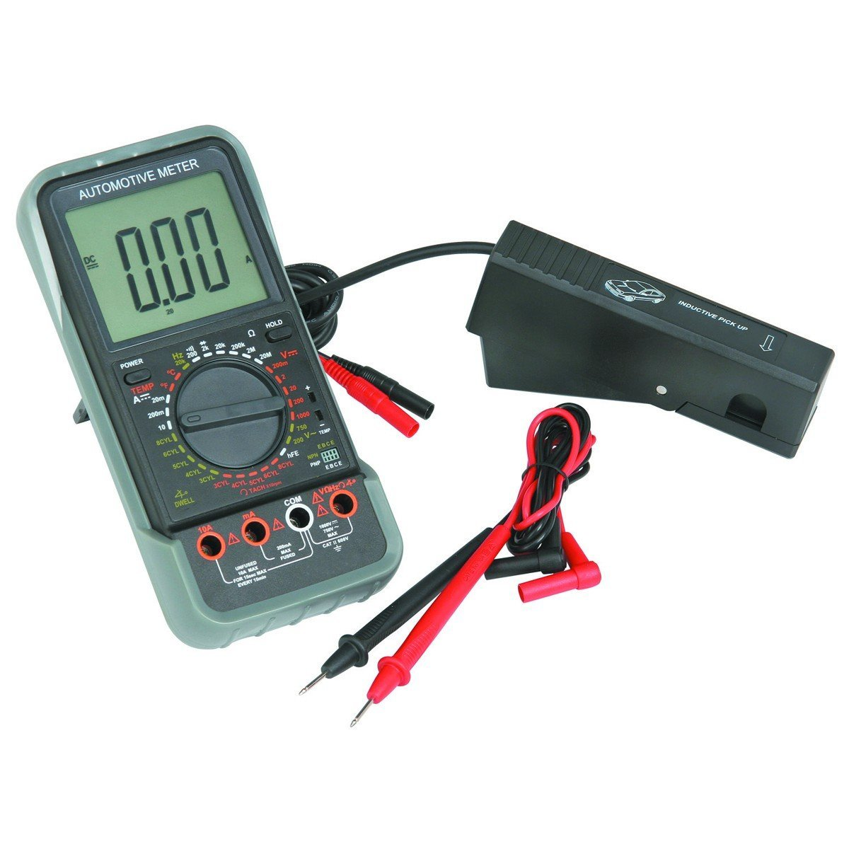 LCD Automotive Multimeter with Tachometer Kit: Black and Red Test Leads, Bead Probe, Spark Plug Signal Pickup Clamp, 9 V Battery, Hard Shell Carry Case, Automatic Shutoff