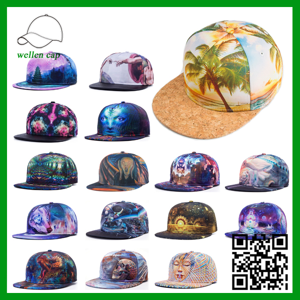 Fashion custom polyester 5 panel hip-hop 3D heat tranfer printing snapback <strong>cap</strong>/hat
