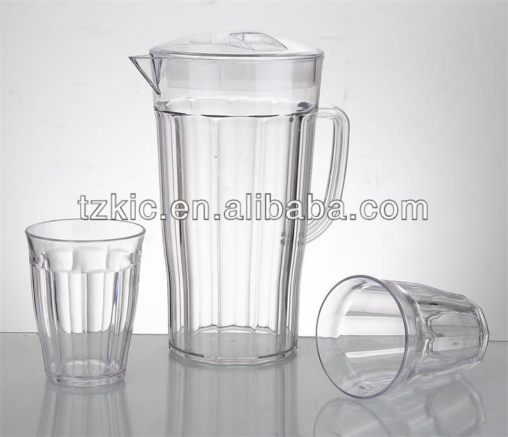 clear Plastic Water pitcher Set With 4 Cups