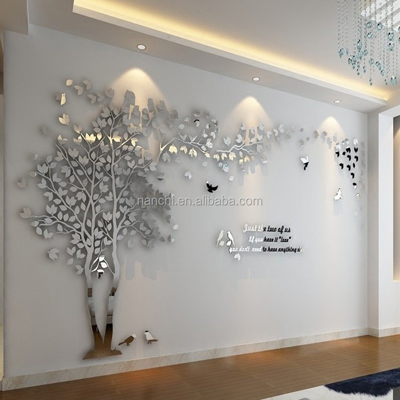 3D Mirror Tree Acrylic Wall Stickers Creative Lovers Tree Wall Decals TV  Background Decoration Wall Stickers