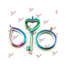 Alloy Rainbow Tear Drop/Heart Key/Round Floating Lockets