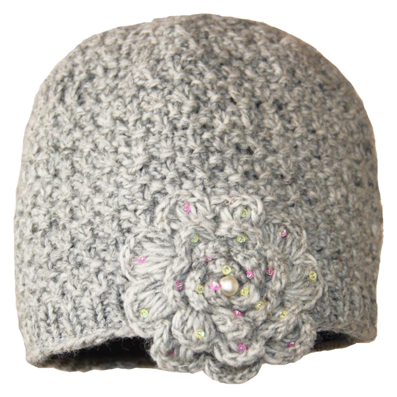 879621ecdaa Get Quotations · SIJJL Gray Crochet Flower Beanie