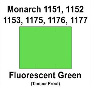 96,000 Monarch 1151 compatible Fluorescent Green General Purpose Labels to fit the Monarch 1151, 1152, 1153, 1175, 1176, 1177, 1180 & 1273 Price Guns. Full Case + includes 16 ink rollers.
