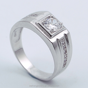 Men's Claw Setting rough diamond Pave setting Ring Side Stone 3A grade 925 Sterling Silver Jewelry for men