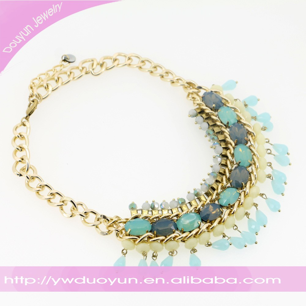 Aquamarine Nugget Gold Plated Necklace