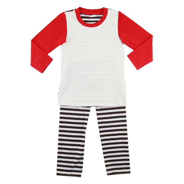 best selling children lining stripe cotton sleepwear kids outfit knit christmas pajamas