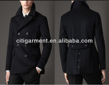 Men's Virgin Wool Cashmere Pea Coat - Buy 100% Cashmere Coats Mens ...