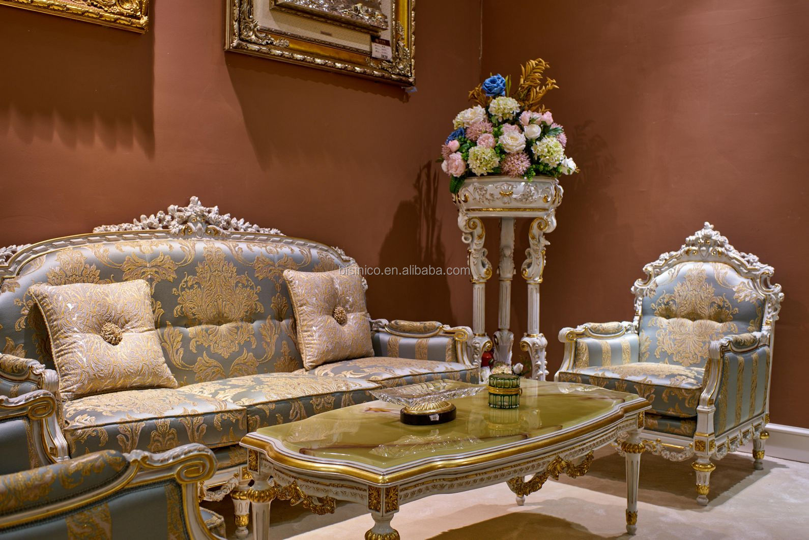 Royal Floral Design Living Room Furniture/ Luxurious Gold Accents Exquisite Fabric Sectional Sofa Set/ European Home Furniture