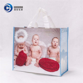 Custom Laminated PP Portable Woven Tote Shopping Bag With Handle