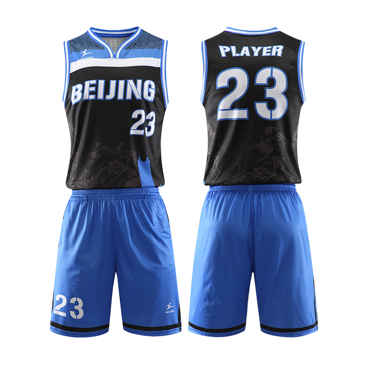 Healong Basketball Jersey Einheitliche Designfarbe Blau Digitaldruck Cool Max Pink Basketball Jerseys