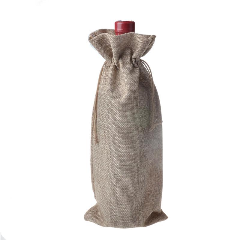 60cca5f91bb Jute Wine Bottle Bags 15cmx35cm (6 x 18.5) champagne Bottle Covers Linen  Gift Pouches Burlap Hessian Packaging Bag