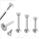 316L Stainless steel Fashion Labret bar for internally body piercing jewelry lip ring