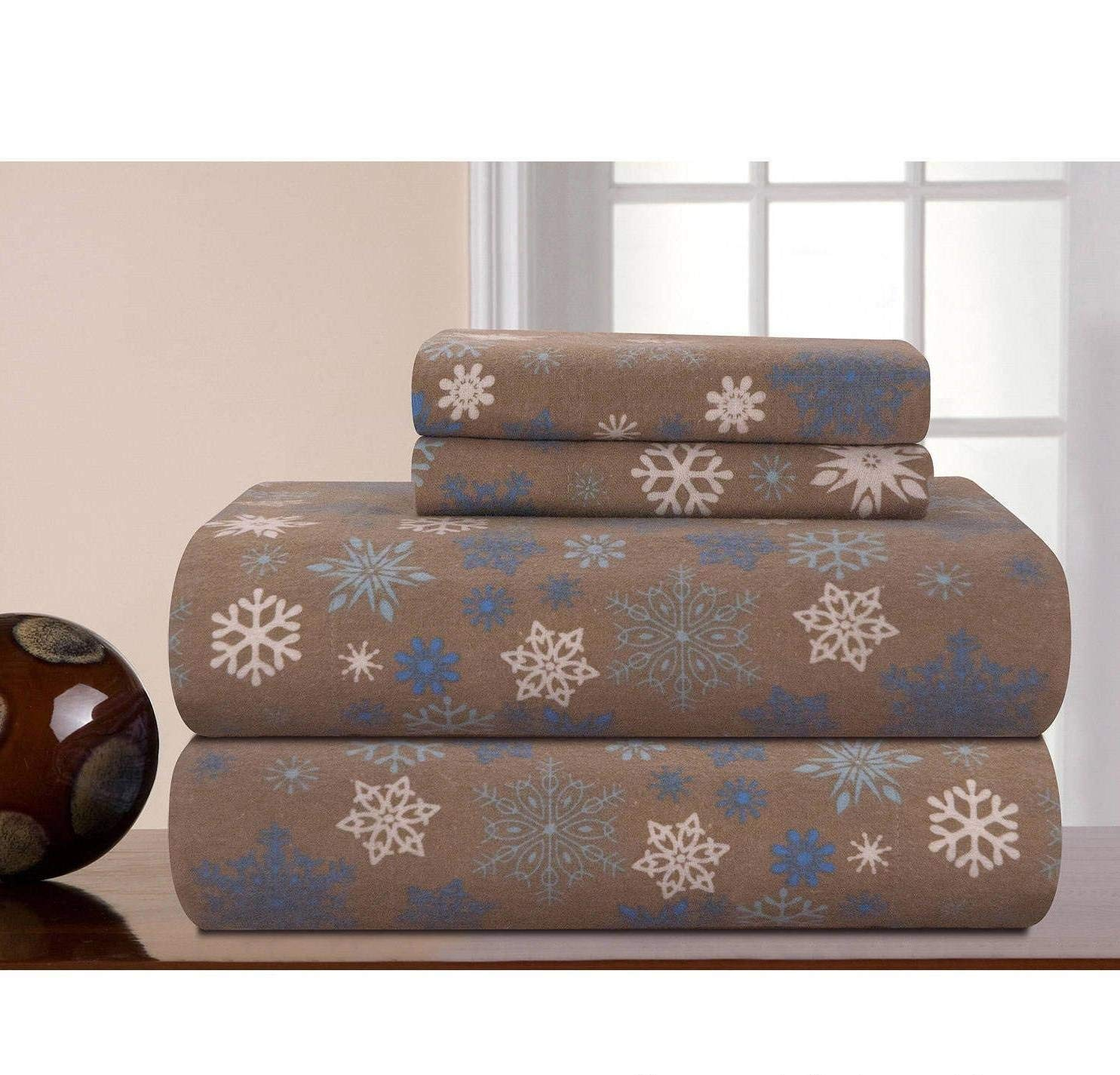 MISC 4pc Dusty Brown Snowflakes Theme Sheets Cal King Set, Elegant Winter Season Bedding, Fully Elasticized Fitted,, Cotton Flannel, Unisex, Deep Pocket, Falling Snow