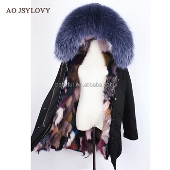 Latest design woman multi color real fox fur hooded parka coat