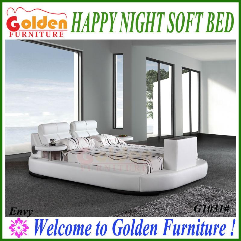 King size cama de cuero con la televisión en el pie de cama camas tv ...