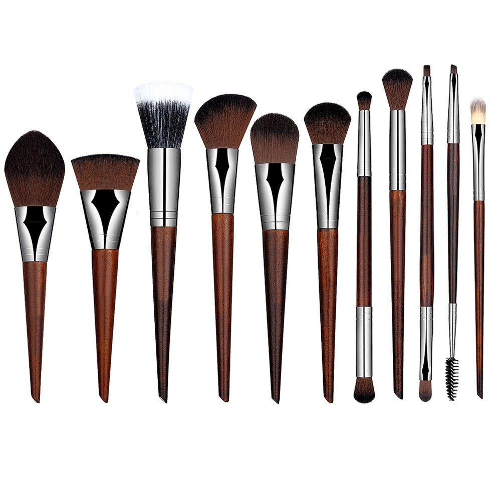 11 pcs sandalwood make up brush personalized synthetic foundation highlight makeup brush set