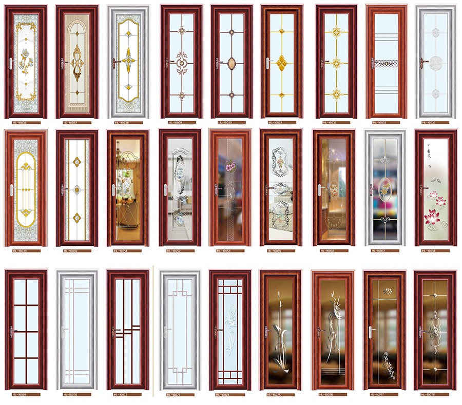 Cheap bathroom glass door with high quality aluminum frame for Cheap glass doors