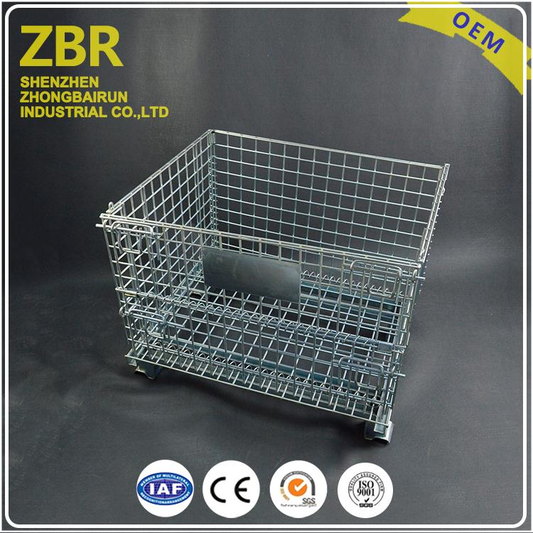 Stackable Wire Mesh Grid Basket High Quality Container with the Cover Zinc Electroplated Storage Cage
