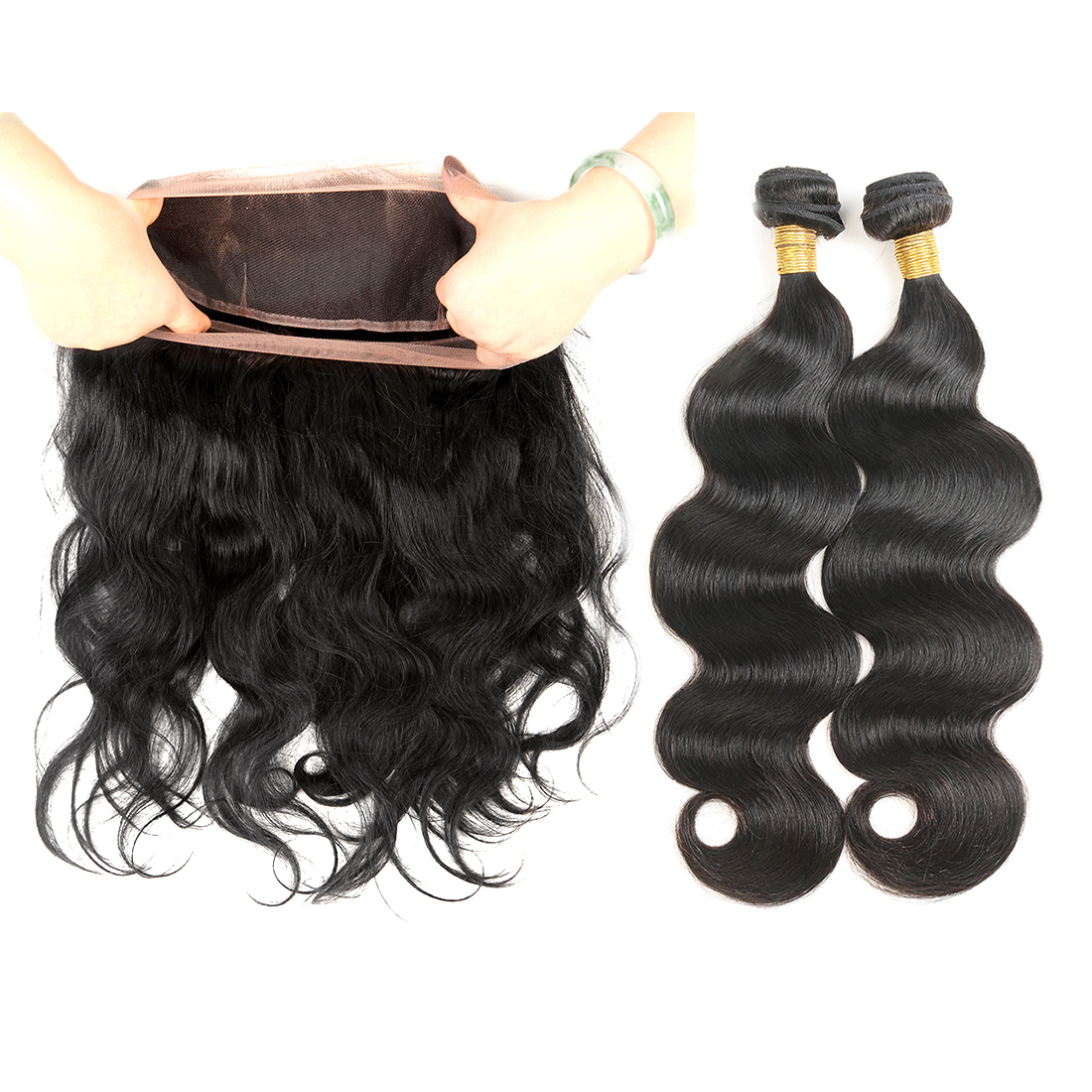 Cheap Grade 7A 27 Pieces Short Weave Human Hair 4 Bundles Weft And Lace Frontal Closure