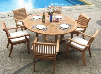 Outdoor Garden Furniture Long Wood Terrace Cafe Table And Chairs - Long cafe table