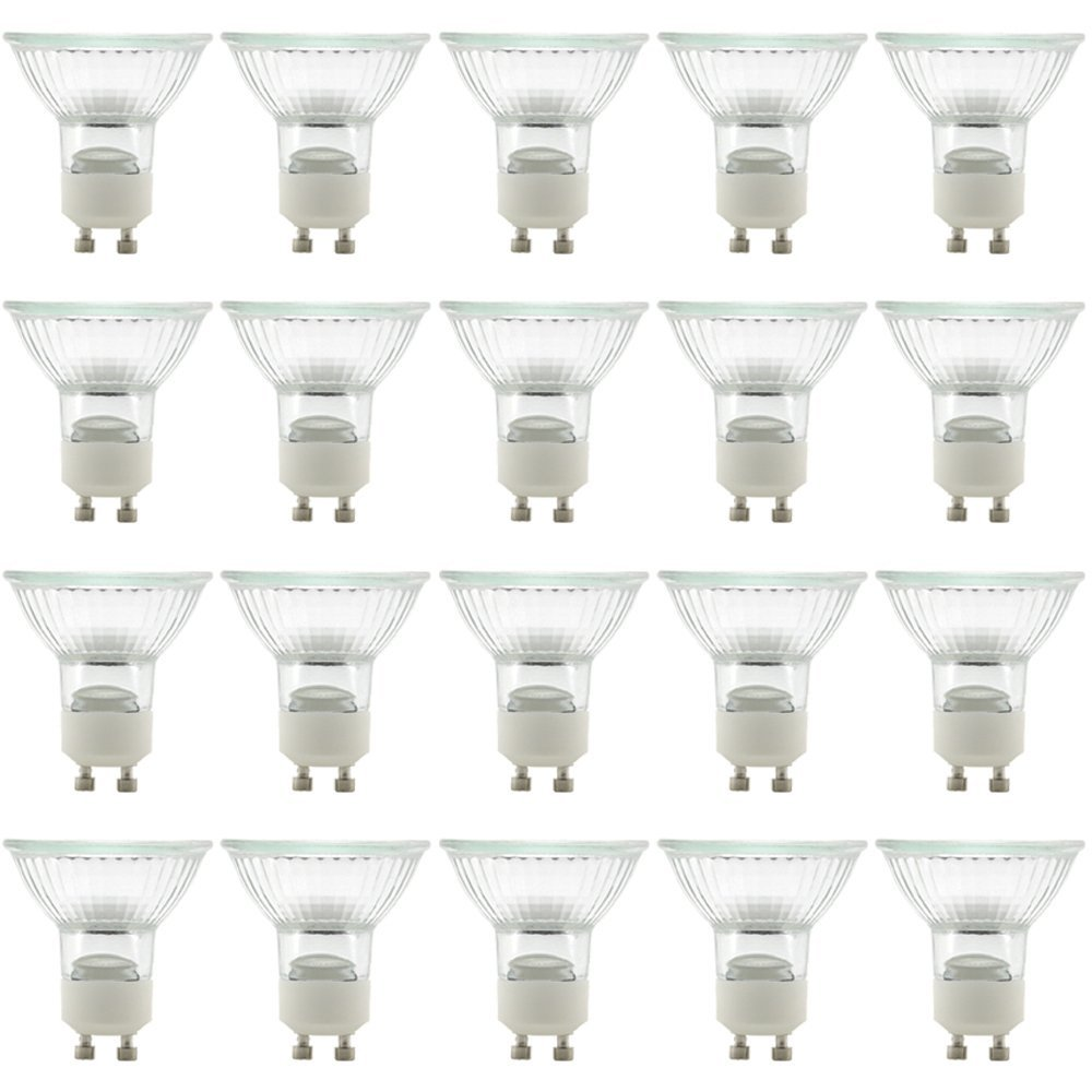 eTopLighting(20 Pack) GU10-120V-50W, MR16 Type UV Glass Cover GU10 Base Halogen Bulb Light Lamp Bulbs, 50 Watt 120 Volt, GU10-120V-50W(20)