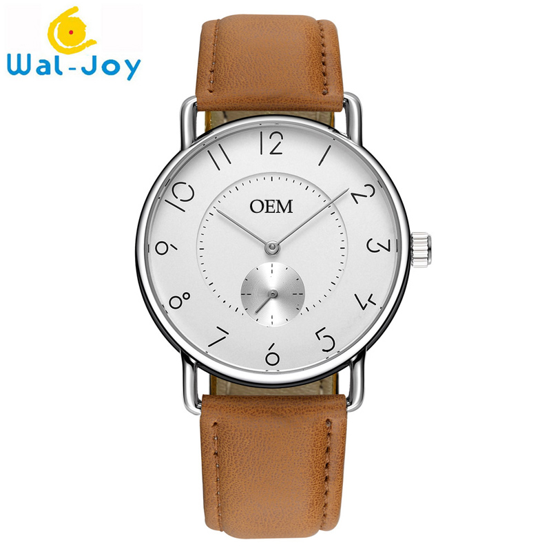 WJ8005 Custom Men Watch Leather Strap Luxury Men's OEM Watch Small Working Dial Customized Design Your Own Logo Printing