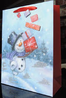 china supplier muneco de nieve happ con caja de regalo bolsa de envoltura de rega ribbon handle wine bag Gift Wrapping Paper Bag