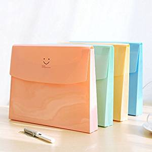 Katoot@ 5 pcs/lot Cute smiley face folder Candy color A4 file bag Document bag Kawaii stationery office school supplies