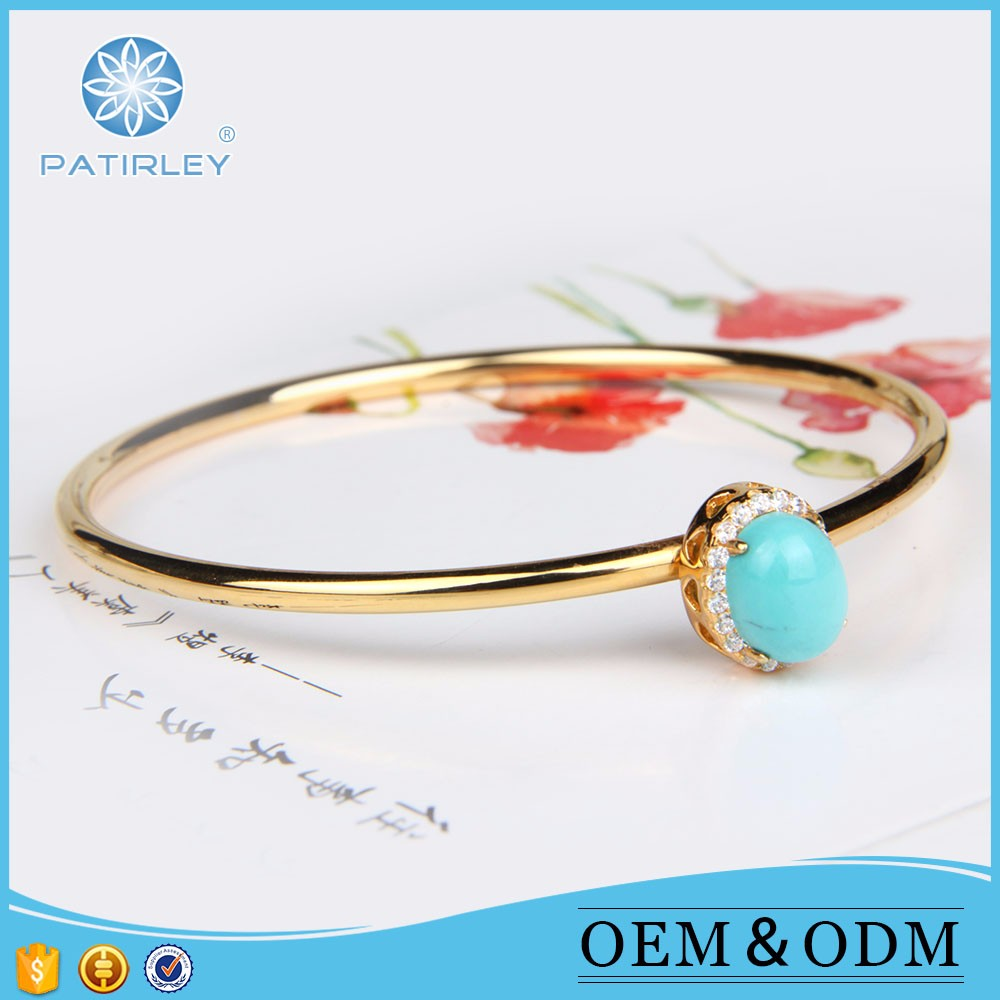Luxury bangles turquoise stones rough natural bangles with good price