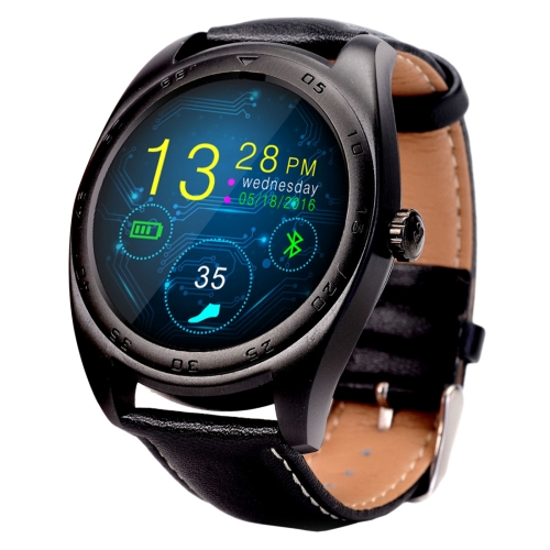 Classic Watch Design Leather Band Bluetooth 4.0 Heart Rate Smart Watch, Pedometer / Sedentary Reminder / Sleep Monitor / Remote