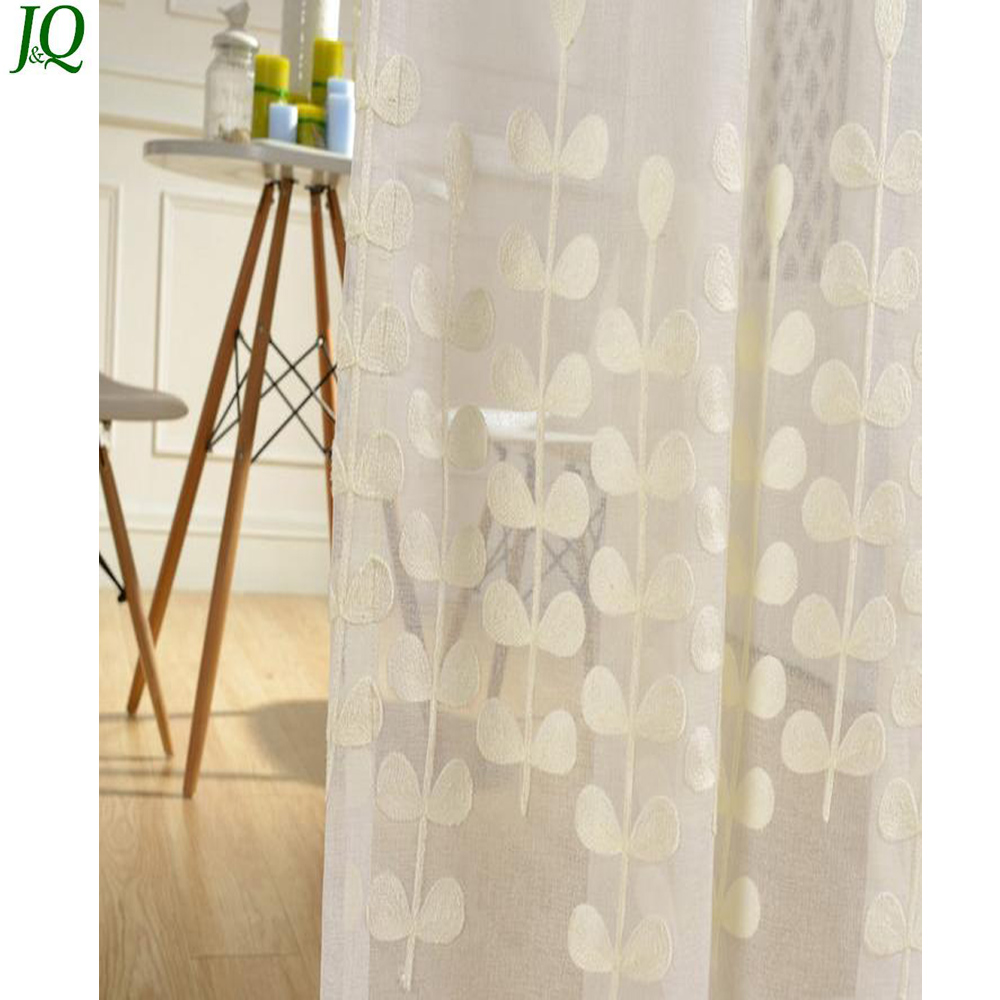 Wholesale China White Organza White Embroidered Fancy Sheer Cafe Curtains