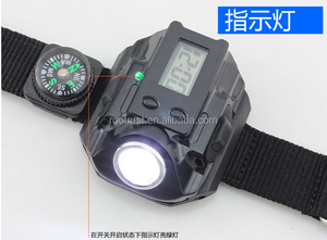 Rechargeable LED USB Watch Bracelet Wrist Lamp Torch+Compass