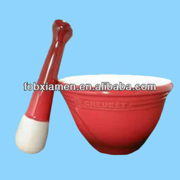 Novelty red handmade suribachi mortar and pestle