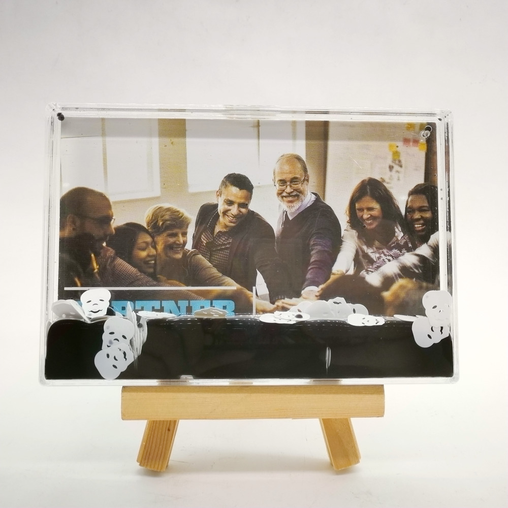New Acrylic Photo Frame Glass Acrylic Block With Water And Glitter Clear4R 5R Acrylic Photo Frame