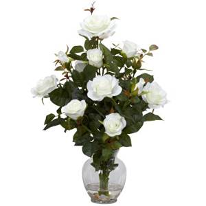 Nearly Natural Home Indoor Decorative Tabletop Rose Bush With Vase Silk Flower Arrangement White by Nearly Natural