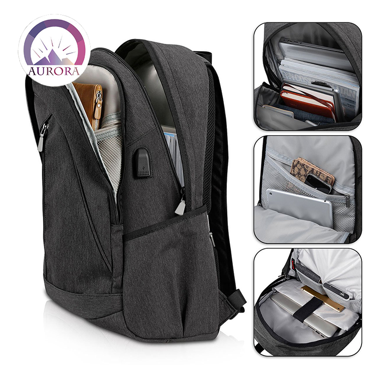 Anti theft waterproof laptop backpack shoulder bag with usb