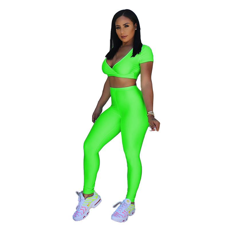 ANJAMANOR/женские Клубные комплекты из двух предметов; неоновый, зеленый, розовый, желтый; летние комплекты; спортивная одежда для фитнеса; Спорт...(Китай)
