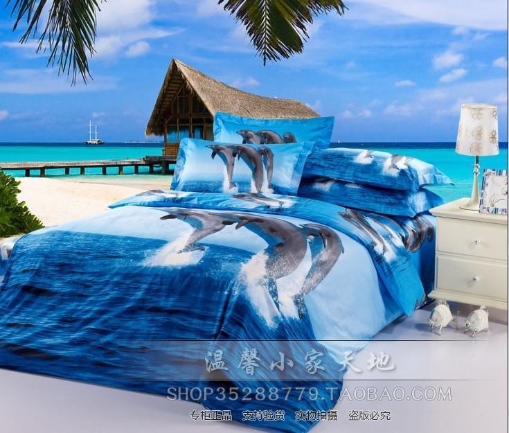 bleu oc an dauphin couette ensemble de literie queen size lit dans un sac draps de couette. Black Bedroom Furniture Sets. Home Design Ideas
