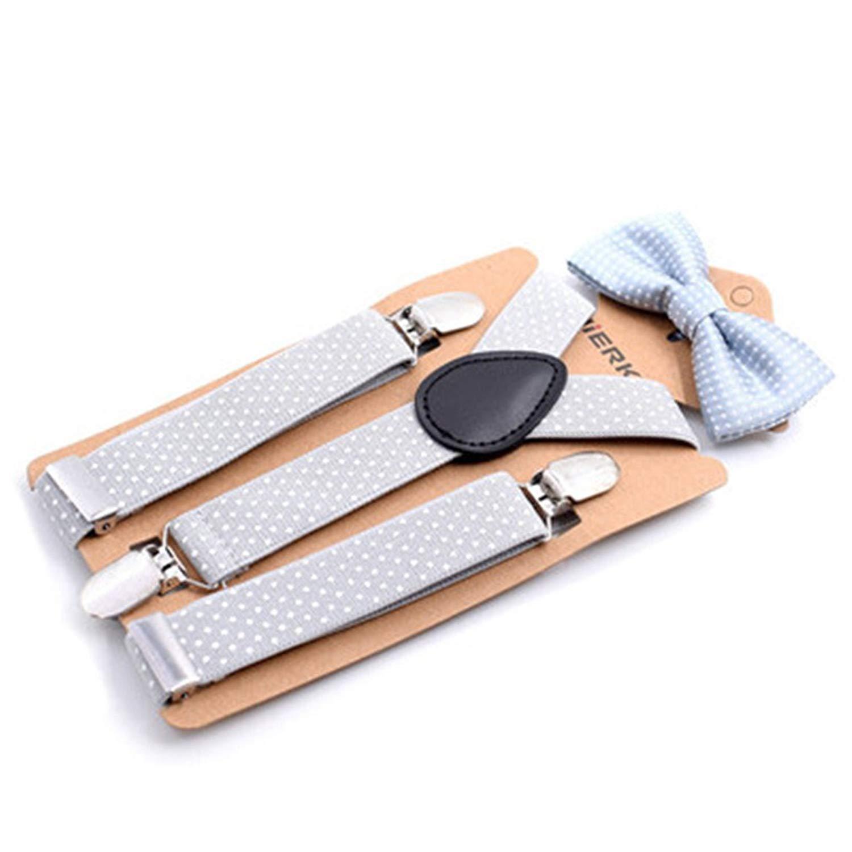 Baby Boys Suspenders Kids Elastic Adjustable Suspenders With Bowtie Set Children Silver