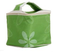 Green flower carry canvas simple lunch cooler bag