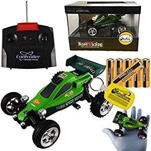 Mini RC Remote Control Dune Buggy Kart Bundle Green (3 Items), Scale 1:43 Palm Sized Ultra Miniature Radio Control RC Buggy Car, Color Green + x6 Duracell Procell AA Batteries + WBK Key Chain Fob