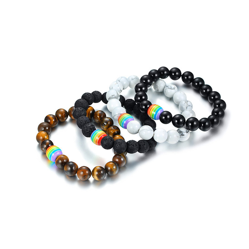 Wholesale adjustable black string bracelet gay rainbow bead bracelet