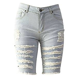 dfc03d609a8 Woman Denim Shorts - SODIAL(R)Woman's Europe Style Half Ripped Jeans New  High