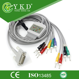one -piece Pagewriter 100 Ekg Cable , Din3 0 Plug End, AHA Standard, CE  Certification