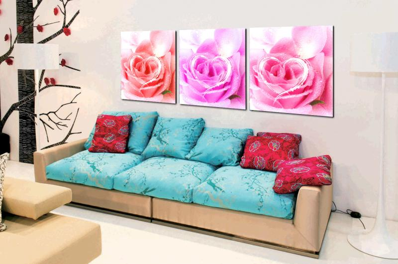 3 Piece beauty rose loving heart Modern Home decoration Wall Decor oil painting Canvas Art HD picture Print Painting RZ-ZH-125