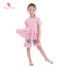 Boutique pink short sleeves t-shirt flouncing shorts sets children outfit baby clothes