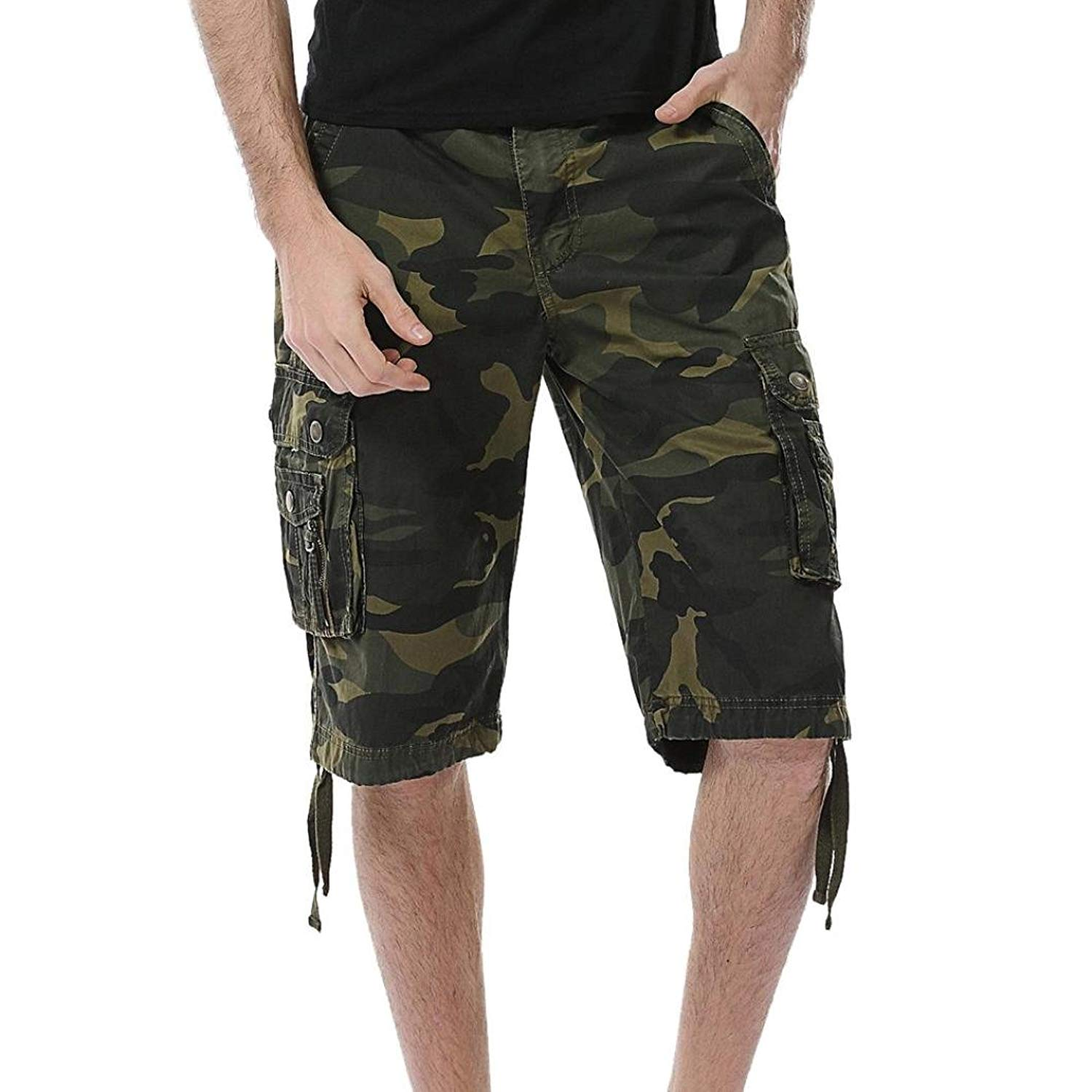 a568188c9e Get Quotations · Scaling ☸ Men's Fashion Cargo Shorts Casual Loose Camo  Short Pants Elastic Waist Beach Gym Sport